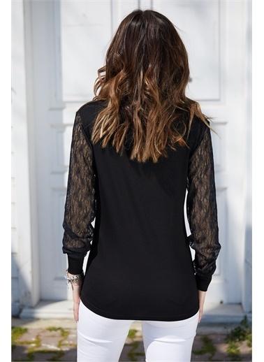 XHAN XHAN 0Yxk24336402 Kolu Tül Detaylı V Yaka Kadın Bluz Siyah